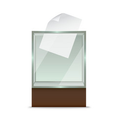 realistic glass ballot box vector image