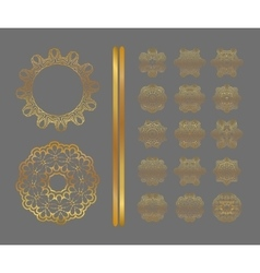 Traditional golden decor on gray background vector image