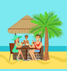 young couple sitting at the cafe near the beach vector image