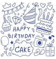 07-09-015 hand drawn party doodle happy birthday vector