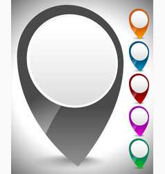 3d map marker map pin set in multiply colors vector image