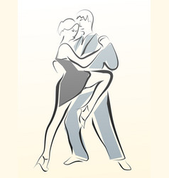 abstract of dancing couple made in line vector image