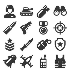 army military and war icons set vector image