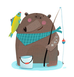 Bear fisherman with fishing rod catching fish vector