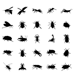 beetles silhouettes set vector image