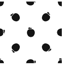 black apple pattern seamless black vector image
