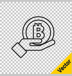 black line hand holding bitcoin icon isolated on vector image