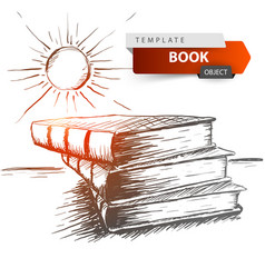 book and sun - grey sketch education vector image