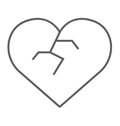 broken heart thin line icon love and broke vector image