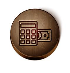 Brown line calculator with dollar symbol icon vector