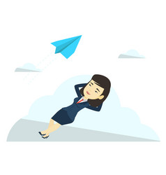 Business woman lying on cloud vector