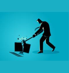 businessman destroying desktop computer with vector image