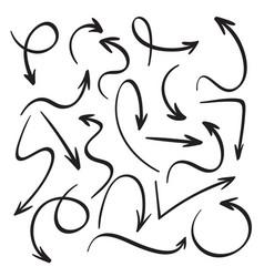 Cartoon black arrows hand drawn arrow sketch vector