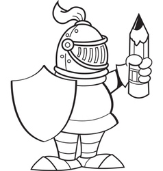 Cartoon knight holding a shield and a pencil vector image