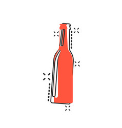 cartoon wine beer bottle icon in comic style vector image