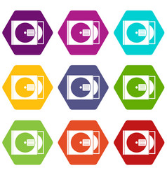 cd box with disc icon set color hexahedron vector image
