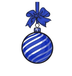 Christmas balls with blue ribbon and bows vector image