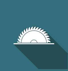 circular saw blade icon isolated with long shadow vector image