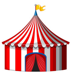 Circus tent in red and white color vector