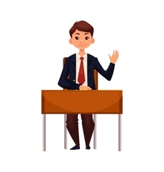 Clever school boy sitting at desk raising hand to vector image