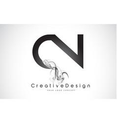 Cn letter logo design with black smoke vector