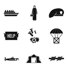 Collateral damage icons set simple style vector