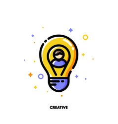 creative idea icon with user photo and light bulb vector image