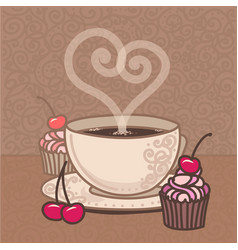 Cup coffee with cakes and cherries vector