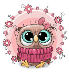 cute cartoon owl with flowers vector image