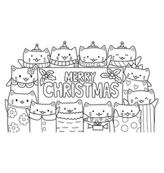 cute cats and merry christmas vector image vector image