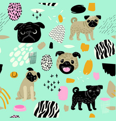 cute dogs seamless pattern childish background vector image