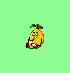 Cute lemon character sitting with lemon juice vector