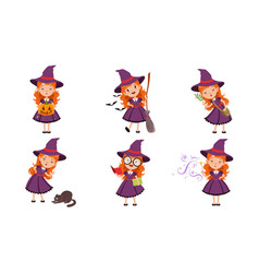 cute little witch cartoon character collection vector image