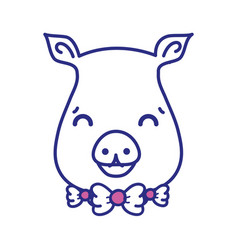 Cute pig female wild animal vector