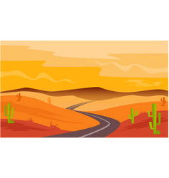 Desert road cactus sandstone landscape vector