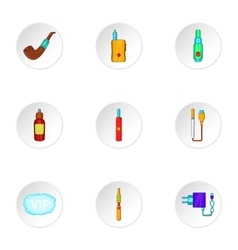 Electronic cigarette icons set cartoon style vector image