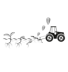 Farmer seeding crops at field vector image