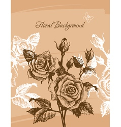 floral background with roses vector image
