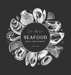 Frame with hand drawn seafood - fresh fish oyster vector