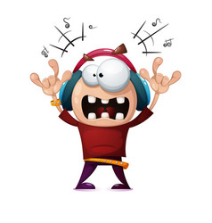 Funny cute crazy cartoon rock man rock music vector