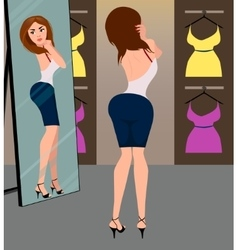 Girl in the fitting room vector