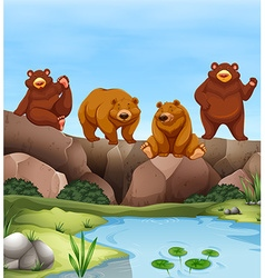 Grizzly bears living by the pond vector