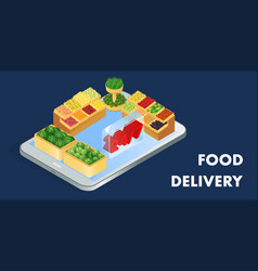 grocery shop delivery isometric banner template vector image