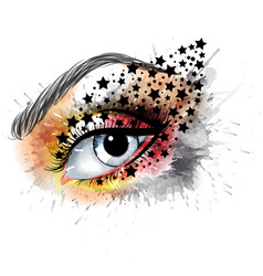 grunge eye with stars makeup beauty and fashion vector image