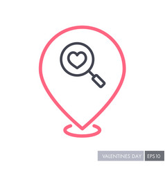 heart search pin map icon vector image