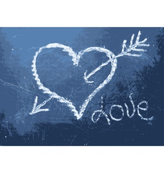 Heart shape chalk drawing vector