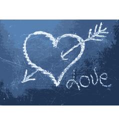 Heart shape chalk drawing vector image