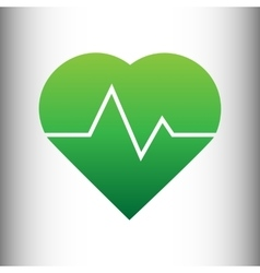 Heartbeat sign Green gradient icon vector