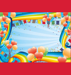 Holiday banner with rainbows and balloons vector