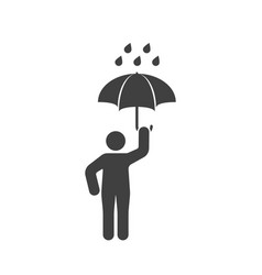Icon of a man with an open umbrella in the rain vector